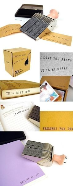"""Alphabet Rolling Rubber Stamp...obsessively stamp everything with """"Erin & Jason?"""" I think yes!"""