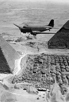 ❦ Douglas C-47 skytrain near Cairo in1943 | Ronnie Bell.