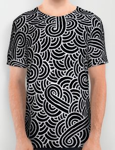 """""""Black and silver zentangles"""" All Over Print T-Shirt by Savousepate on Society6 #tshirt #teeshirt #clothing #pattern #abstract #zentangles #doodles #scrolls #silver #grey #gray #black #blingbling"""