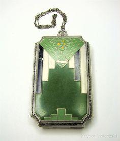 Art Deco Era Black & Green Enameled Compact & Coin Purse Wristlet