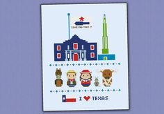 This is a super funny pattern for all the Texas lovers, featuring the icons characters and places: Fort Alamo, San Jacinto Monument and the