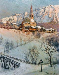 Bild Cortina d'Ampezzo von Gustav Jahn Skiing, Mountain, Magic, Painting, Art, Pictures, Ski, Painting Art, Paintings