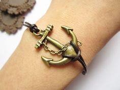 antique bronze anchor bracelet by katerinachan93, Etsy