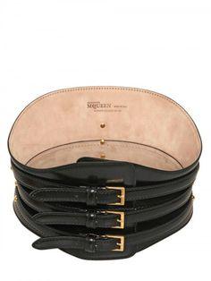 ALEXANDER MCQUEEN   Three Buckle Shiny Leather Corset