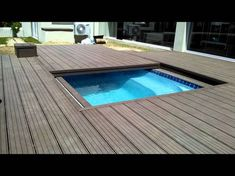Sliding deck that retracts away from pool onto another deck slightly larger, so becomes a step to top deck.
