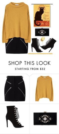 """""""Le chat noir (tfp)"""" by meryfern ❤ liked on Polyvore featuring Alexander Wang, MANGO, Noir and tfp"""