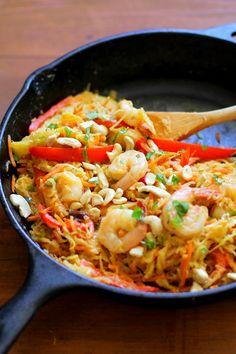 Spaghetti Squash Pad Thai - a grain-free, paleo-friendly version of the Thai classic   TheRoastedRoot.net #recipe #dinner #seafood #paleo