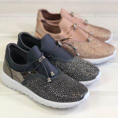5bff99657718 How cute are these pewter  sneakers with adjustable toggle and a bit of   bling