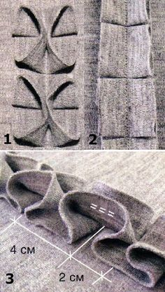 Fabric manipulation > must be translated (use google translator, etc) >also has interesting way of weaving fabric through loops.