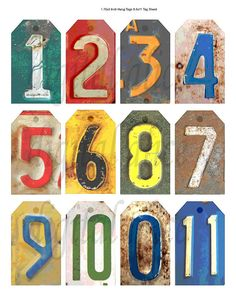 Old RUSTY METAL NUMBERS - Vintage Number  tags - Instant Digital Download -  industrial steampunk art - great for Gift tags,cards  - DiY