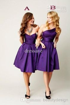Wholesale Bridesmaid Dresses - Buy Cheap ! Two Styles Dark Purple A Line Satin Bridesmaid Dresses One Shoulder Sweetheart Knee Length Backless Short Prom Gowns 1815159, $68.42 | DHgate