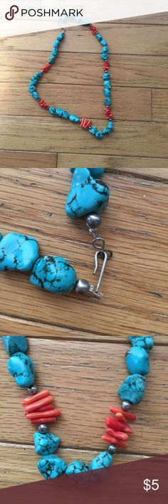 Turquoise & coral necklace Turquoise, silver and coral beaded necklace Jewelry Necklaces