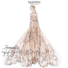 Le croquis da robe de mariée en dentelle rose poudrée signée Valentino de Frida Giannini http://www.vogue.fr/mariage/inspirations/diaporama/la-robe-de-marie-valentino-de-frida-giannini/20911/carrousel#la-robe-de-marie-valentino-de-frida-giannini