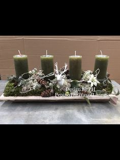 Christmas Tabletop, Christmas Crafts, Christmas Decorations, Xmas, The Night Before Christmas, Christmas Is Coming, Twas The Night, Pillar Candles, Flower Arrangements