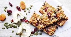 Healthy homemade muesli bar slice recipe Museli Bar Recipe, Healthy Muesli Bar Recipe, Homemade Muesli Bars, Muesli Recipe, Healthy Bars, Healthy Vegan Snacks, Vegan Breakfast Recipes, Healthy Baking, Snack Recipes