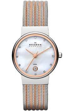This Ancher Striped Steel Mesh Watch from Skagen combines modern Danish design with excellent quality and value & is available in various colours. Skagen Watches, Big Watches, Best Watches For Men, Pocket Watches, Mesh Bracelet, Bracelet Watch, Silver Roses, Rose Gold, Mesh Band