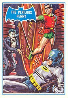 1966 Topps Batman B Series Card The Perilous Penny Batman Tv Show, Batman Comic Books, Comic Books Art, Comic Book Covers, Comic Art, Batman 1966, Batman And Superman, Batman Robin, Batwoman