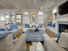 Blue and white living room. Classic coastal living room with blue and white decor. Blue and white living room interior ideas. Blue and white living room. Blue and white living room #Blueandwhite #livingroom #BlueandwhiteLivingRoom #BlueandwhiteInteriors #CoastalBlueandwhite #Blueandwhitedecor #Blueandwhitefurniture Asher Associates Architects. Megan Gorelick Interiors