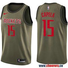 61247d8868 Men's Nike Houston Rockets #15 Clint Capela Green Salute to Service NBA  Swingman Jersey Basketball
