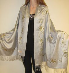Wondrous Silver Shawl With Gold Border Design - Evening shawl for women on sale…