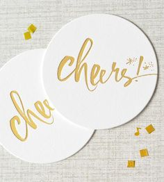 Cheers! Letterpress Coaster Set by Julie Song Ink