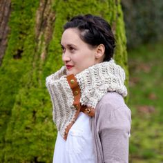 Crochet Leather Snap Scarf