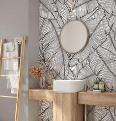 Peel and stick Wallpaper. Self-adhesive Wallpaper. Palm Leaf Wallpaper, Modern Wallpaper, Bathroom Wallpaper, Peel And Stick Wallpaper, Banana Leaves Wallpaper, Tropical Wallpaper, Smooth Walls, Self Adhesive Wallpaper, Textured Walls
