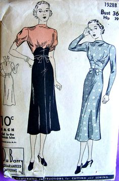 années 1930 DuBarry, modèle 1928B - robe Vintage jeune femme : avec drapé encolure * buste 36