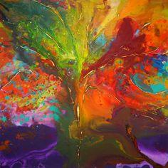 XL Original Baum Gemälde von Caroline von AffordableArtGallery