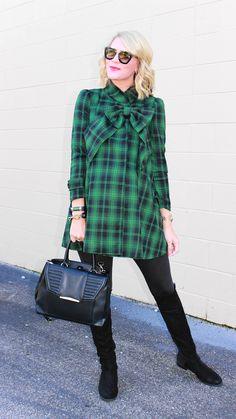 Green Tartan Dolly Dress with Big Bow  by Jennifer Rand