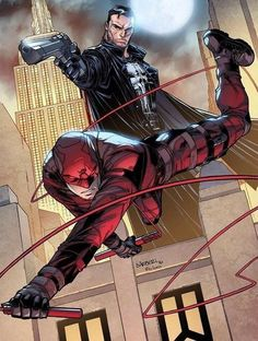 Daredevil(Matt Murdock) & The Punisher(Frank Castle) Daredevil and Punisher by Carlo Barberi Marvel Comic Character, Comic Book Characters, Comic Book Heroes, Marvel Characters, Daredevil Artwork, Daredevil Punisher, Deadpool, Arte Dc Comics, Marvel Heroes