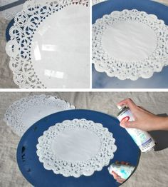 DIY Frosted Glass Doily Mirror do this with my little Ikea mirrors.