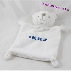 Doudou plat ours IKKS blanc écriture bleue 22 cm Onesies, Sweatshirts, Plush, Bears, Dish, Babies Clothes, Trainers, Rompers, Sweatshirt