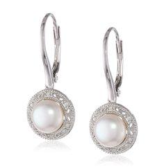 New Sterling Silver Freshwater Cultured Pearl and Diamond Dangle Earrings  | Jewelry & Watches, Fine Jewelry, Fine Earrings | eBay!