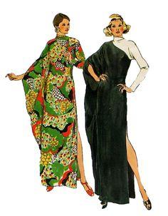 1970s Batwing Caftan Long Kimono Sleeve di DesignRewindFashions