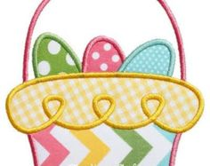 745 Easter Basket 2 Machine Embroidery by AppliqueCafeDesigns