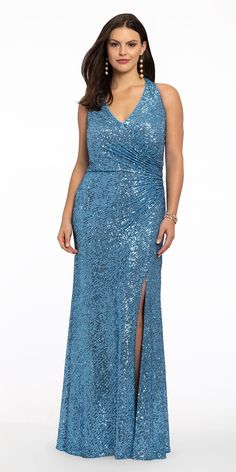 Your presence won't go unnoticed when you arrive in this sparkling long prom dress! With its flattering halter neckline, open back, and ruched bodice with a side slit skirt, this new prom dress is a total must-have for formal. Pair it with metallic heels and a satin clutch to contrast the texture. Bodice, Neckline, Evening Dresses, Prom Dresses, Wedding Guest Style, Blue Crush, Metallic Heels, Slit Skirt, Roaring 20s