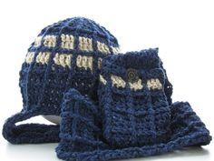 2 PDF Crochet Patterns, TARDIS Doctor Who inspired beanie w scarf & pocket cozy, All sizes, DIY epattern, Sci Fi Fantasy Geekery