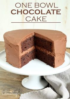 This gluten free chocolate cake is rich, dense and fudgy, and it's all made in just one bowl. Make a double layer or single, with the simplest chocolate ganache frosting.
