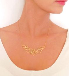 Droplets Necklace, Gold Necklace, Dewdrops Necklace, Geometric Necklace, Simple Droplets Necklace, Dainty Gold Necklace by LuluMayJewelry on Etsy https://www.etsy.com/listing/119944093/droplets-necklace-gold-necklace-dewdrops