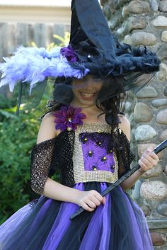 Witch hat, custom made black and purple witch hat, Hocus pocus hat, wicked witch hat, witch hat with feathers and veil by TheMuseCreations on Etsy