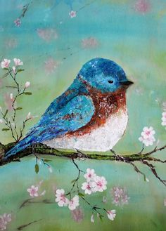 Palette Knife Acrylic Painting - Blue Bird - Craftberry Bush