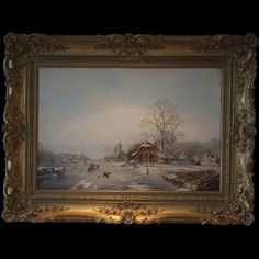 "DESCRIPTION: Oil on canvas painting by Dutch artist. Depicts a Dutch Winter scene with children and people of all ages enjoyign the frozen lake, ice skating and sledding. Excellent detailings and finished with a scenic mountainous landscape backdrop. In ornate gilt wooden frame and signed: ""V Vanbergan"" CIRCA:Early 20th Ct. ORIGIN:Holland DIMENSIONS:With Frame: H:37"" L49"" Without Frame: H:24"" L36"""