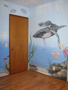 Ocean room decor with a sweet mural. Ocean Bedroom Kids, Ocean Room, Bedroom Murals, Bedroom Themes, Wall Murals, Ocean Mural, Beach Mural, Mermaid Bedroom, Mermaid Nursery