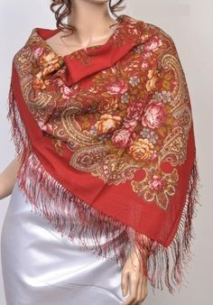 """Russian Pavlov Posad Woolen Shawl Silk Fringe by Ushanka-hat. $54.99. Among unique, world-wide known products, presenting pride and glory of Russia, a particular place occupy shawls from an ancient town of Pavlovsky Posad  Every year """"Pavlovo Posad Shawl Manufactory"""" issues around 300 kinds of shawls, kerchiefs, scarves, cache-nez, tablecloths of natural fibers: wool, cotton, silk. Recognition of a high art and cultural value of our products is the fact that to the facto..."""