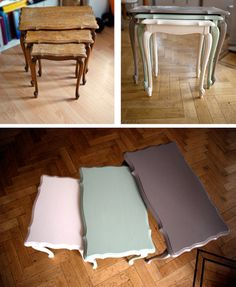 Coffee Tables Before & After. Love this colour palette :)