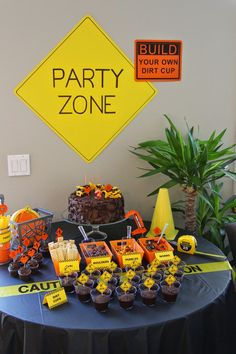 Construction Birthday Party Dessert Table, Build Your Own Dirt Cup, Cupcakes, Costco Cake, Party Zone Sign