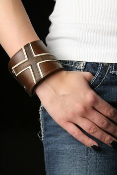 "Leather Cuff, Leather Bracelet: brown leather cuff with a brown cross ""Americana Cross Cuff"". $39.00, via Etsy."