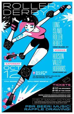 roller derby poster final - long island roller rebels vs. hudson valley horrors - martin gee