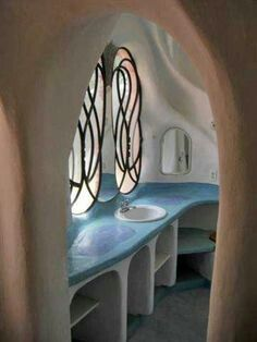 cob house bathroom (or kitchen? Cob Building, Green Building, Building A House, Maison Earthship, Earthship Home, Organic Architecture, Residential Architecture, Contemporary Architecture, Dream Homes